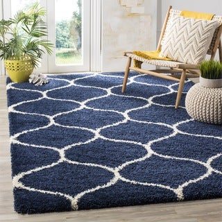 Safavieh Hudson Ogee Shag Navy Background and Ivory Rug (7' Square)