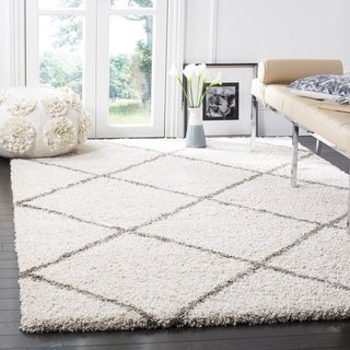 Safavieh Hudson Diamond Shag Ivory Background and Grey Rug (7' Square)