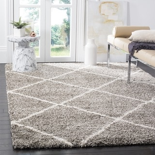 Safavieh Hudson Diamond Shag Grey Background and Ivory Rug (7' Square)