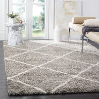 Safavieh Hudson Diamond Shag Grey/ Ivory Rug - 7' Square