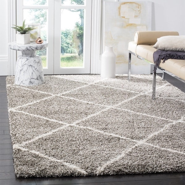 Shop Safavieh Hudson Diamond Shag Grey Ivory Rug 7 X 7