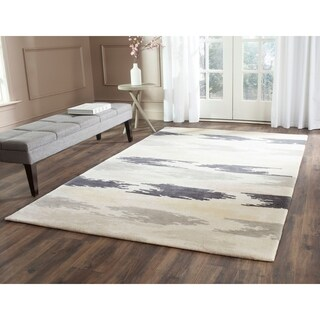 Safavieh Hand-Tufted Soho Ivory/ Grey Wool/ Viscose Rug (7'6 x 9'6)