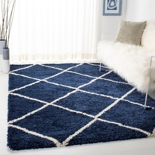 Safavieh Hudson Diamond Shag Navy Background and Ivory Rug (7' Square)