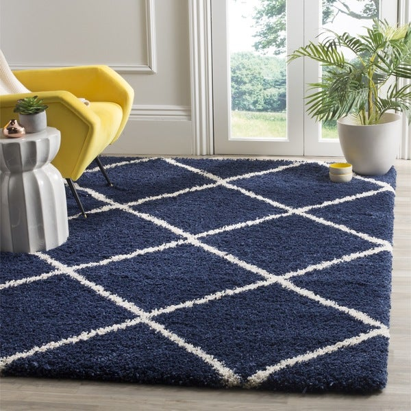 Shop Safavieh Hudson Diamond Shag Navy Ivory Rug 7