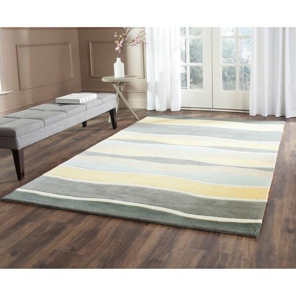 Safavieh Hand-Tufted Soho Grey/ Gold Wool/ Viscose Rug - 7'6 x 9'6