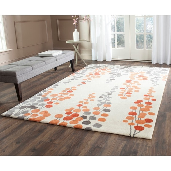 Safavieh Hand-Tufted Soho Beige/ Orange Wool/ Viscose Rug - 7'6 x 9'6