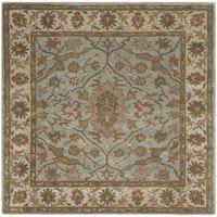 Safavieh Handmade Heritage Timeless Traditional Light Blue/ Ivory Wool Rug - 6' Square