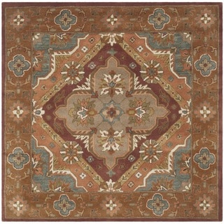 Safavieh Handmade Heritage Timeless Traditional Rust Wool Rug (6' Square)