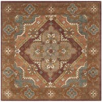 Safavieh Handmade Heritage Timeless Traditional Rust Wool Rug - 6' Square