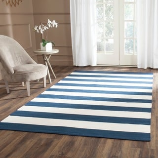Safavieh Hand-woven Montauk Navy/ Ivory Cotton Rug (6' Square)