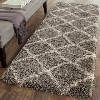 Safavieh Belize Shag Grey/ Taupe Moroccan Trellis Rug (2'3 x 9')