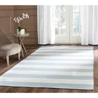 Safavieh Hand-woven Montauk Sky Blue/ Ivory Cotton Rug - 6' Square