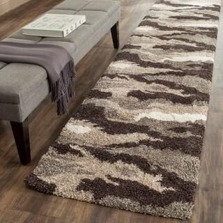 Safavieh Camouflage Shag Beige/ Multicolored Rug (2'3 x 11'7)