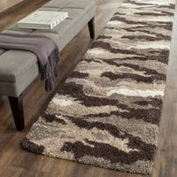 Safavieh Camouflage Shag Beige/ Multicolored Rug (2'3 x 11'7)