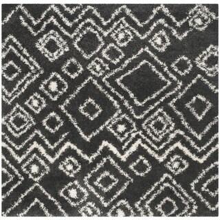 Safavieh Belize Shag Charcoal/ Ivory Rug (6'7 Square)