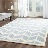 Safavieh Handmade Moroccan Cambridge Blue/ Ivory Wool Rug - 8' x 10'