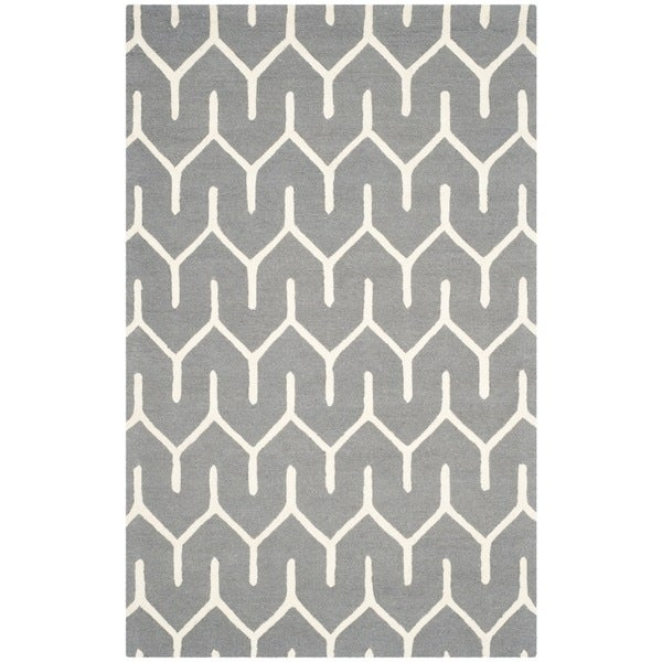 Safavieh Handmade Moroccan Cambridge Dark Grey/ Ivory Wool Rug (8' x 10')