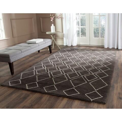 Safavieh Hand-Tufted Soho Ivory/ Dark Grey Wool/ Viscose Rug - 6' x 6' Square