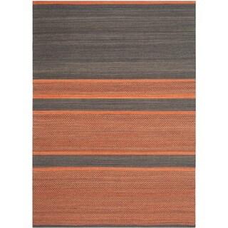 Safavieh Hand-Woven Kilim Dark Grey/ Orange Wool Rug (8' x 10')