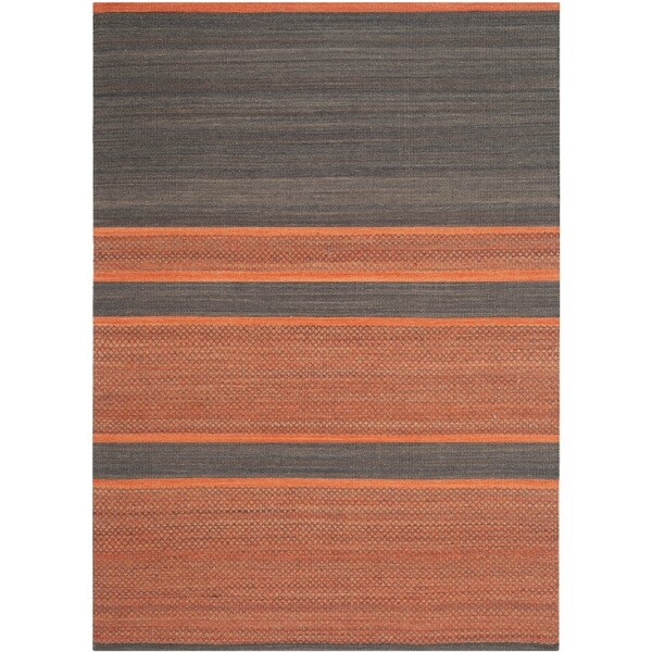 Safavieh Hand-Woven Kilim Dark Grey/ Orange Wool Rug - 8' x 10'