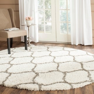 Safavieh Hudson Ogee Shag Ivory Background and Grey Rug (7' Round)
