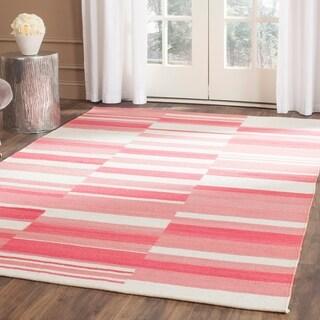 Safavieh Hand-Woven Kilim Pink/ Ivory Wool Rug (8' x 10')