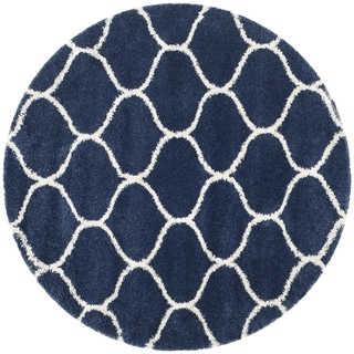 Safavieh Hudson Ogee Shag Navy Background and Ivory Rug (7' Round)
