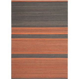 Safavieh Hand-Woven Kilim Dark Grey/ Orange Wool Rug (9' x 12')