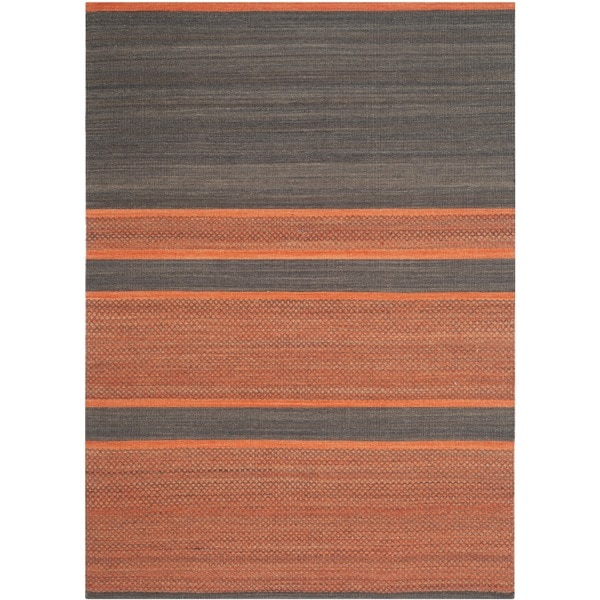 Safavieh Hand-Woven Kilim Dark Grey/ Orange Wool Rug - 9' x 12'