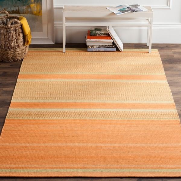 Safavieh Hand-Woven Kilim Orange/ Lime Wool Rug - 9' x 12'