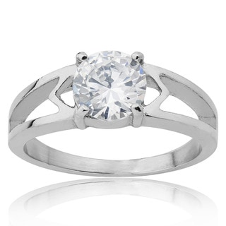 Stainless Steel Cubic Zirconia Solitaire Engagement Ring