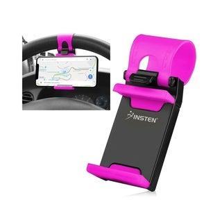 Insten Universal Car Steering Wheel Clip Mount Phone Holder for Apple iPhone XS/ X/ 7 Plus/ SE, Samsung Galaxy S6 Edge, HTC, LG