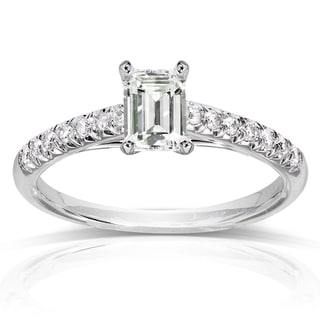Annello by Kobelli 14k White Gold Emerald-cut Moissanite and 1/6 ct TDW Diamond Engagement Ring