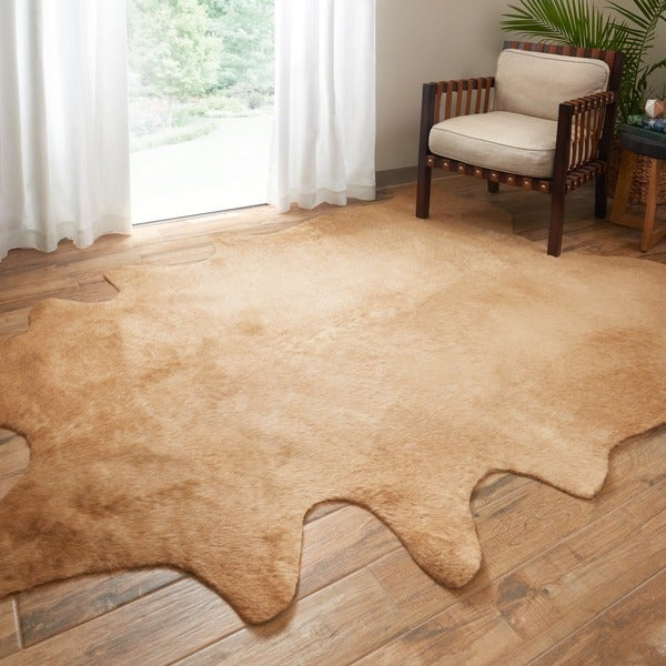 Shop Alexander Home Faux Cowhide Tan Area Rug