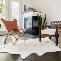 Faux Cowhide Ivory Area Rug - 5' x 6'6
