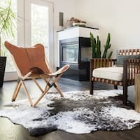 Faux Cowhide Grey/ Charcoal Brown Area Rug - 5' x 6'6