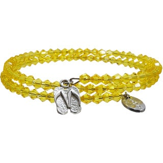 Pink Box Golden Yellow Wrap Around Bicone Bracelet with Slippers Charm