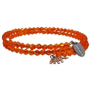 Pink Box Fire Orange Wrap Around Bicone Bracelet with Hand Charm