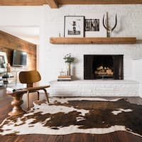 Faux Cowhide Brown/ Beige Area Rug - 7'6 x 9'6