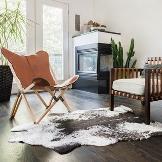 Faux Cowhide Grey/ Charcoal Brown Area Rug - 3'10 x 5'