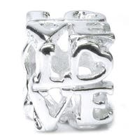Queenberry Sterling Silver Love Heart Letter European Bead Charm