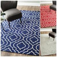 nuLOOM Flat Weave Modern Geometric Printed Trellis Cotton Rug (8' x 10') - 8' x 10'
