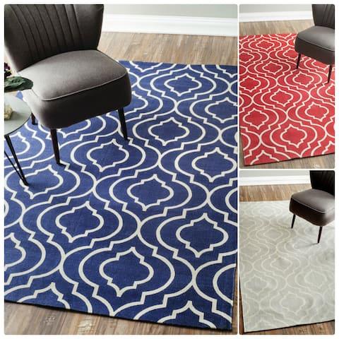 nuLOOM Flatweave Modern Geometric Printed Trellis Cotton Area Rug
