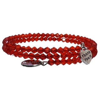 Pink Box Hot Red Wrap Around Bicone Bracelet with Heart 'Thank You' Charm