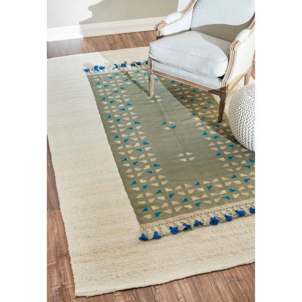 nuLOOM hand-knotted Transitional Green Rug (6' x 9') - 6' x 9'