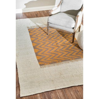 nuLOOM Hand-knotted Transitional Rust Rug (6' x 9')