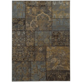 Heritage Patchwork Charcoal/ Blue Rug (7'10 X 10'10) - 7'10 x 10'10