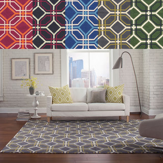 PANTONE Universe Matrix Flat-weave Geometric Tile Wool Rug (5' X 8')