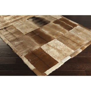 Handmade Terri Animal Leather Strap Area Rug - 5' x 8'