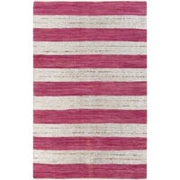 Hand-woven Tomas Pink Striped Cotton Area Rug - 2' x 3'